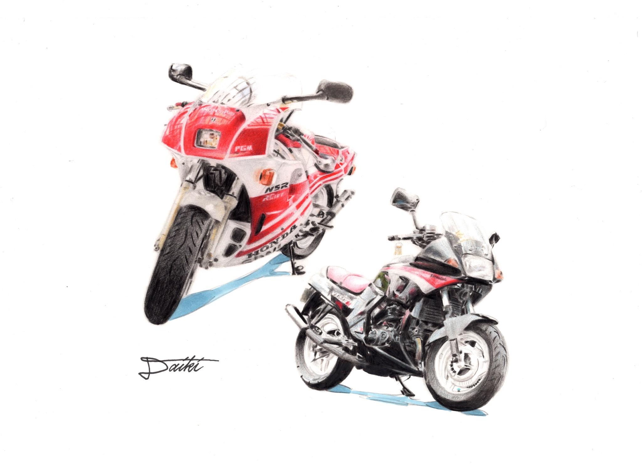 HONDA NSR250R VT250FG 色鉛筆イラスト
