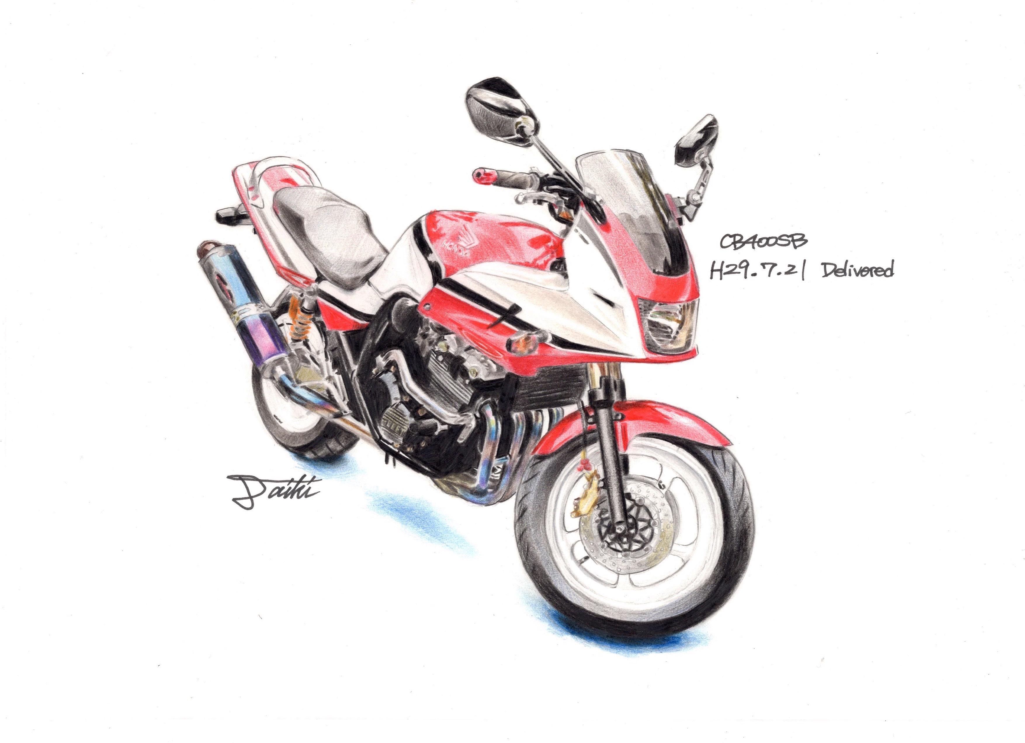 HONDA CB400SB 色鉛筆イラスト