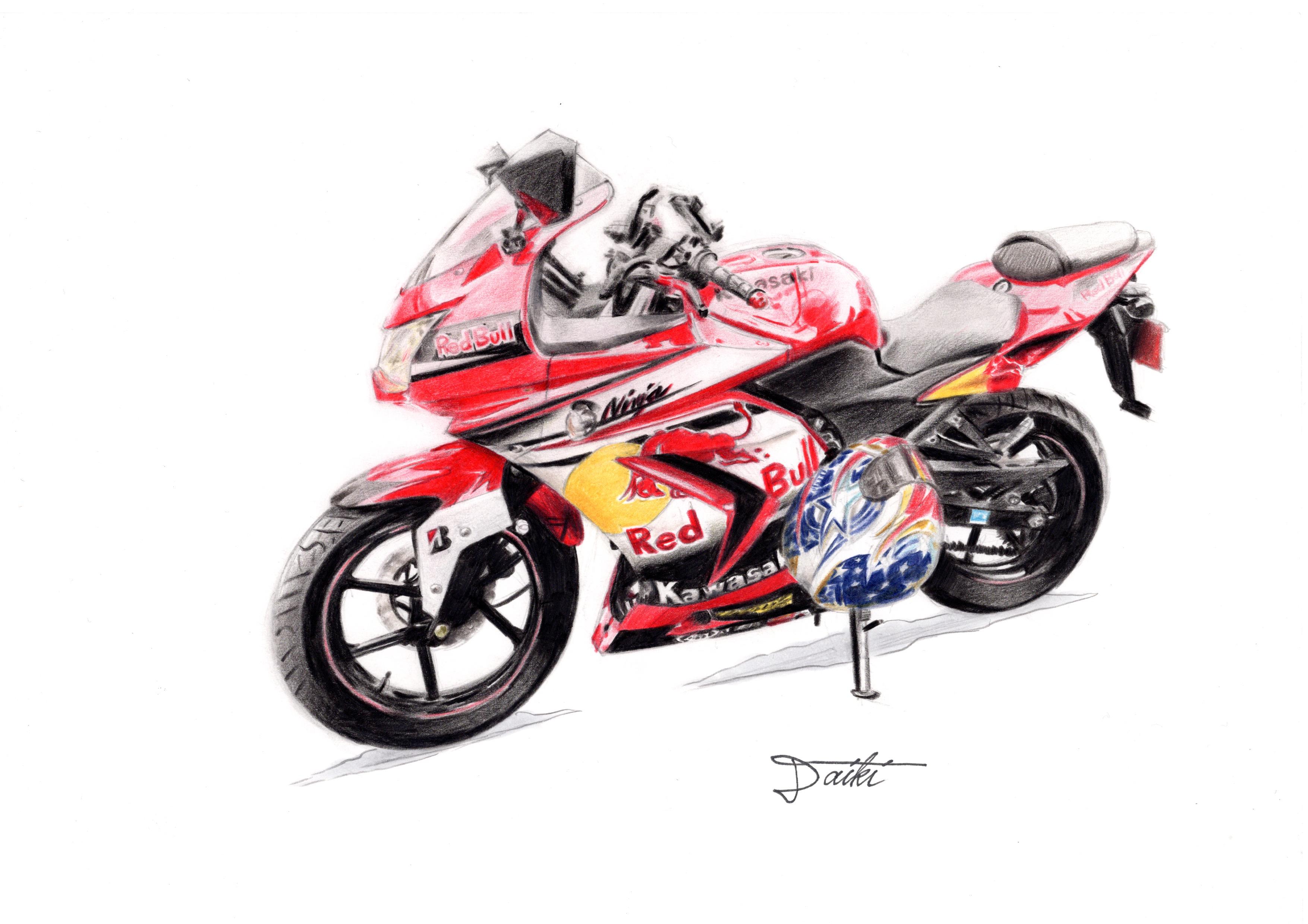 Kawasaki Ninja250 色鉛筆イラスト