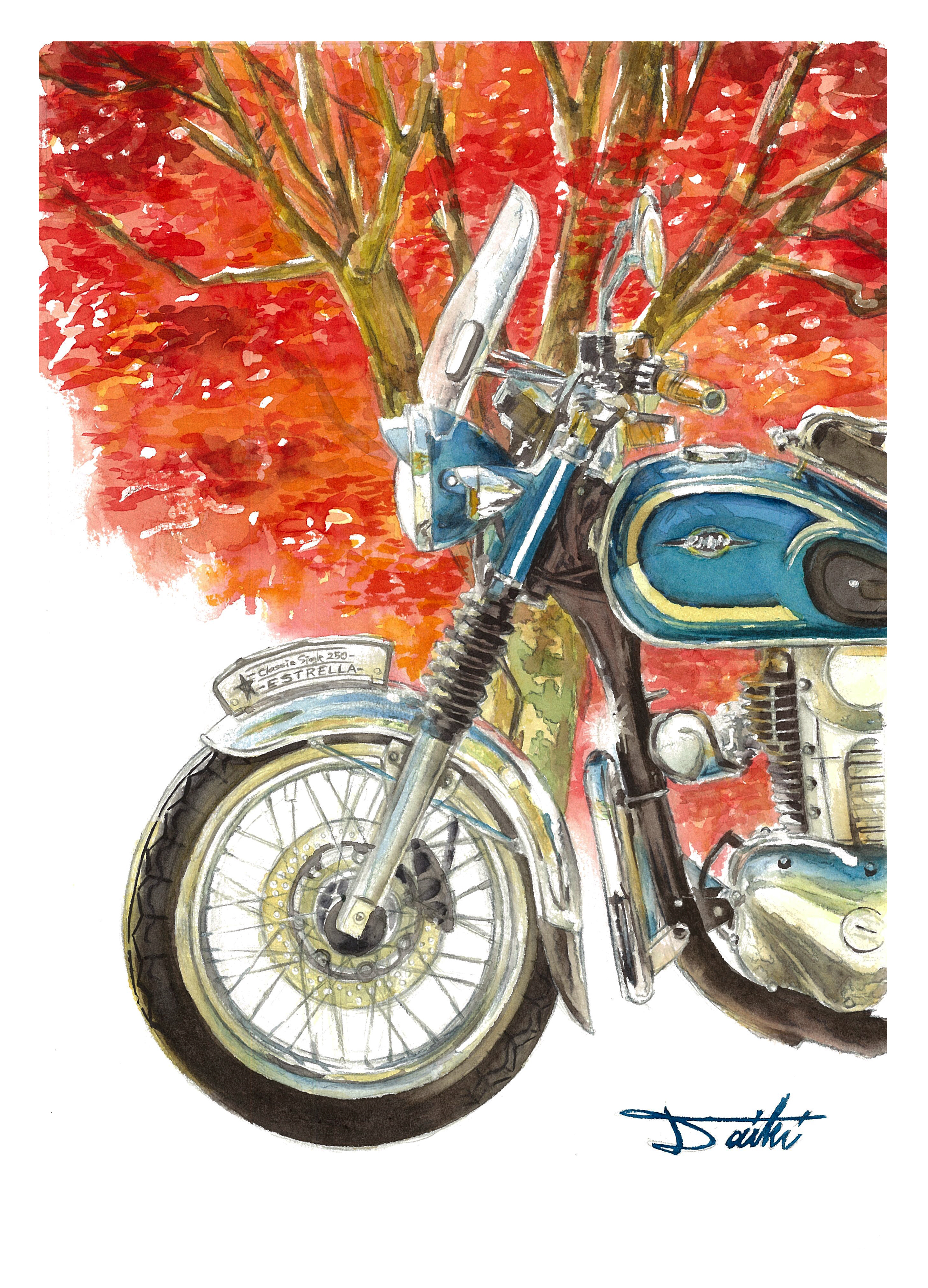 Kawasaki ESTRELLA 水彩バイクイラスト
