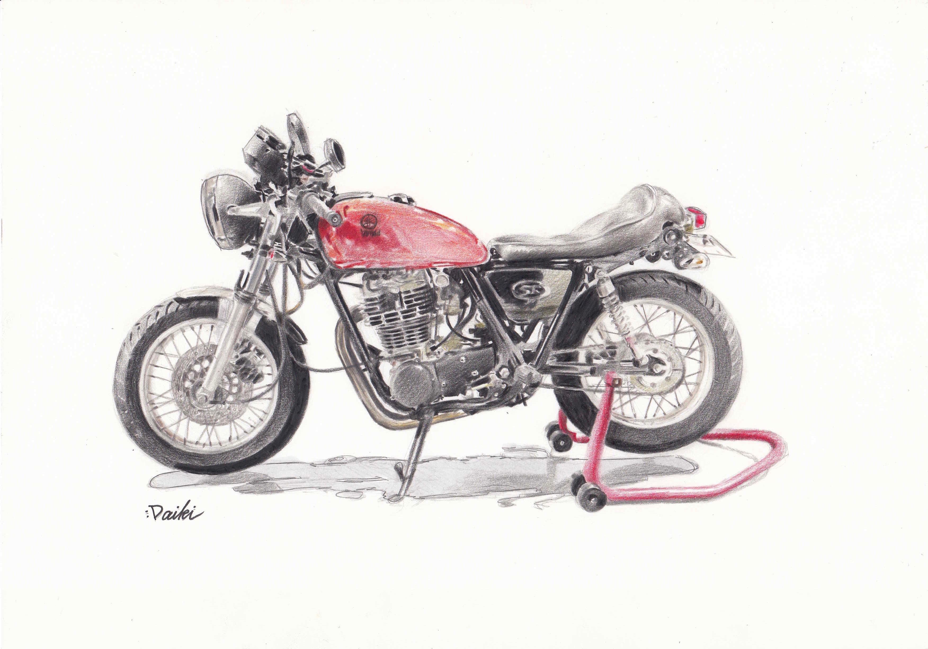 YAMAHA SR400 色鉛筆イラスト