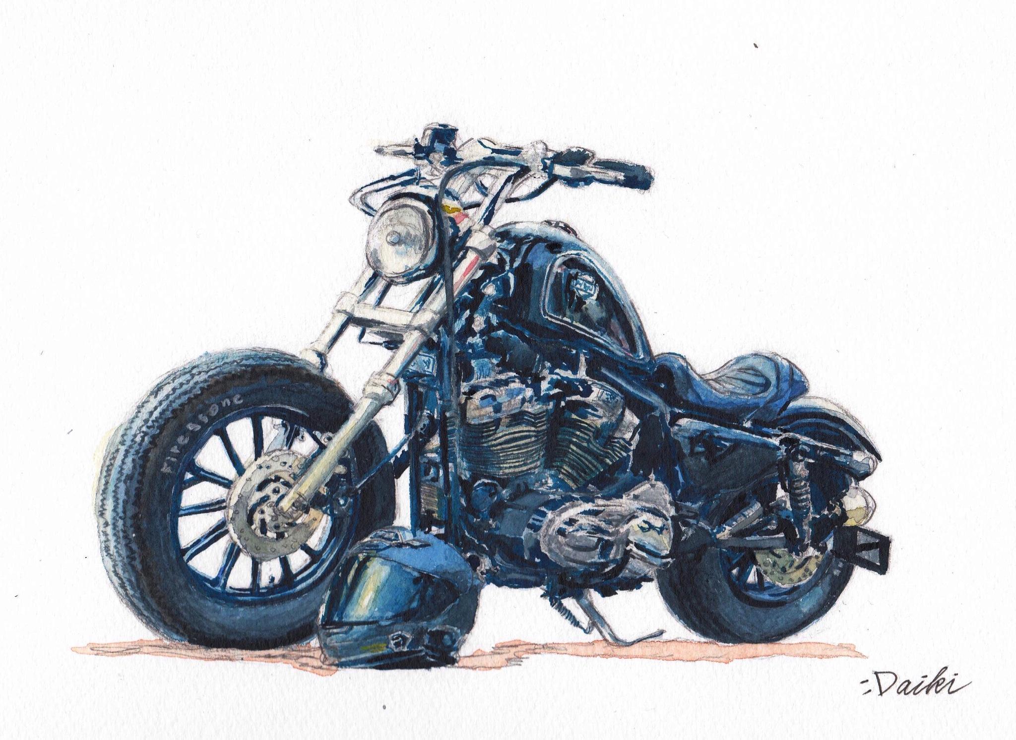 Harley-Davidson sportster XL1200 水彩イラスト