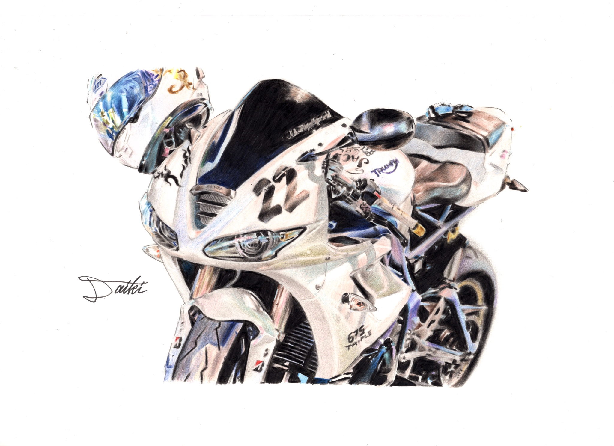 TRIUMPH Daytona675 色鉛筆イラスト