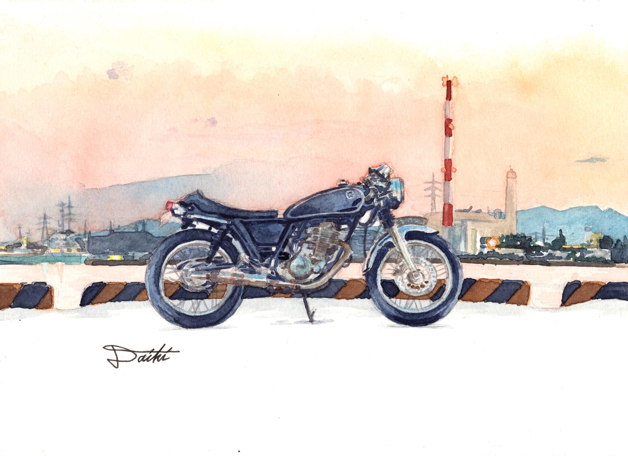 YAMAHA SR400 水彩イラスト