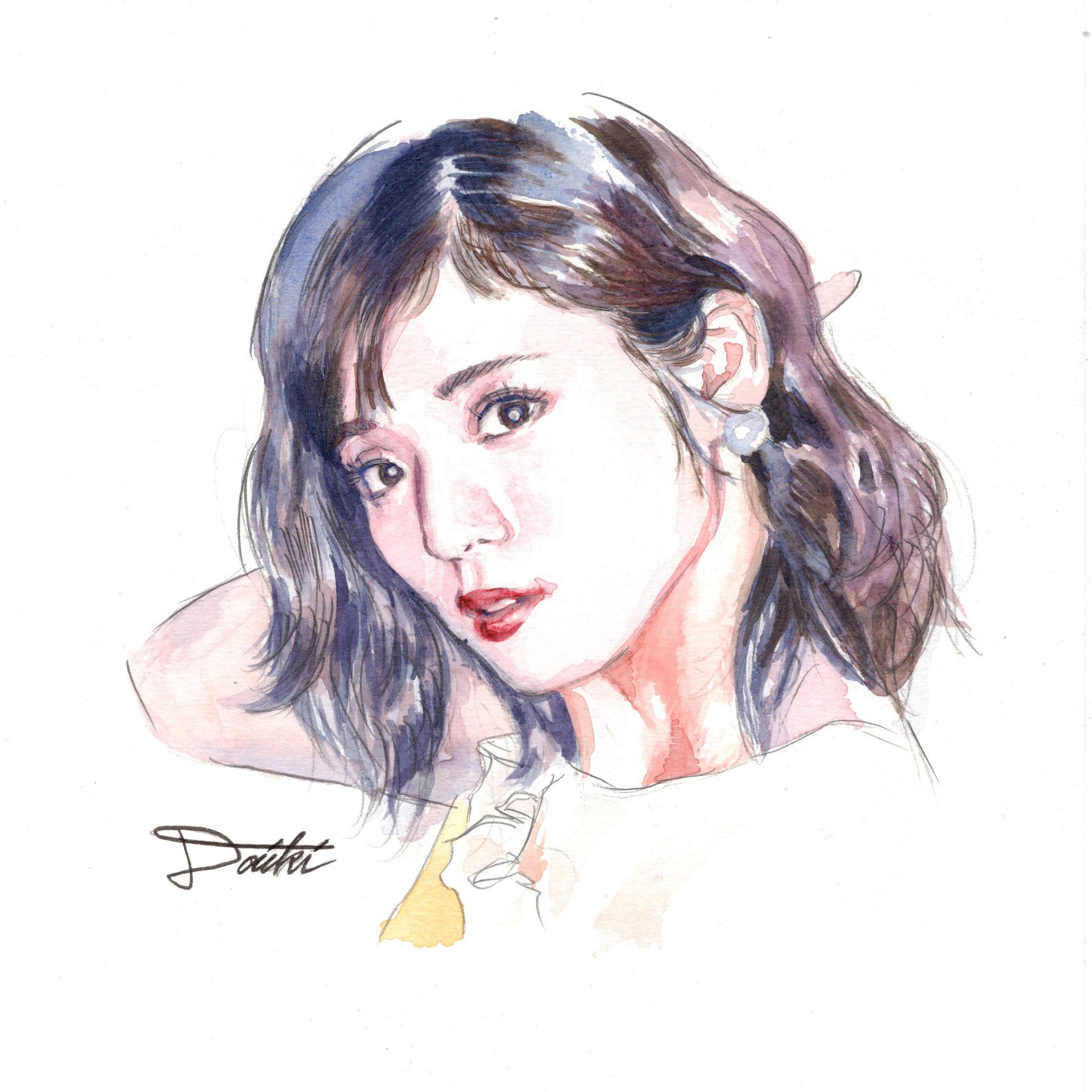 松岡茉優 水彩似顔絵イラスト