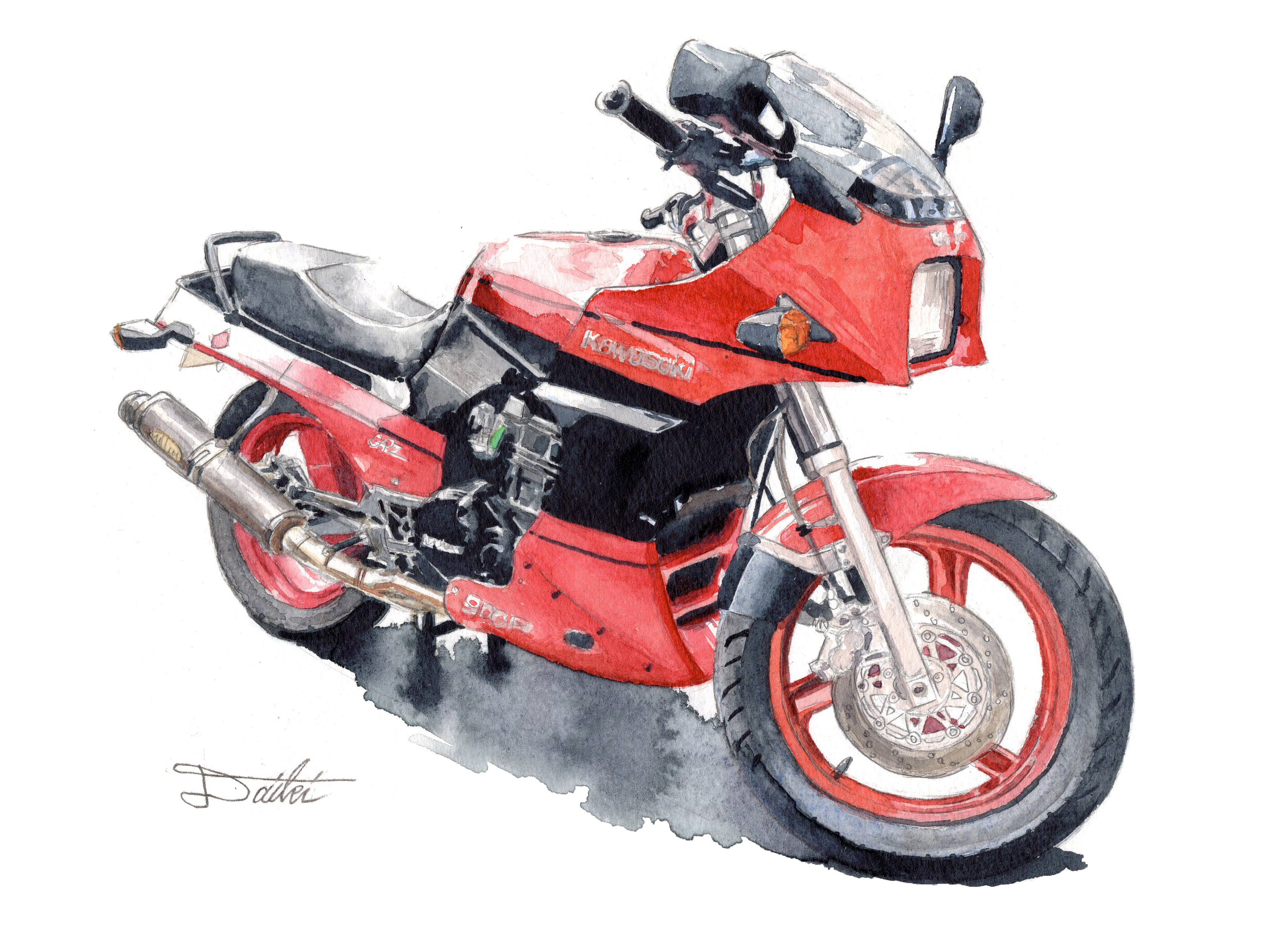 Kawasaki GPZ900R 水彩イラスト