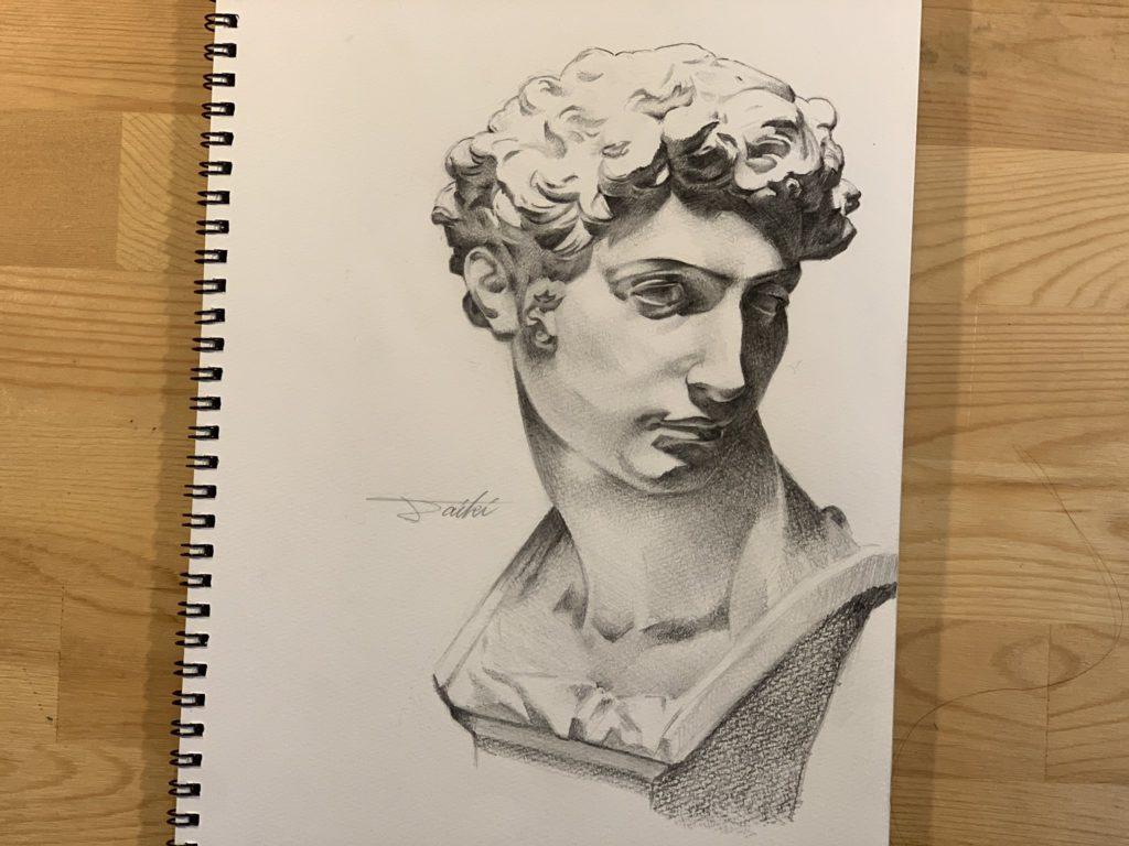 石膏デッサン鉛筆画