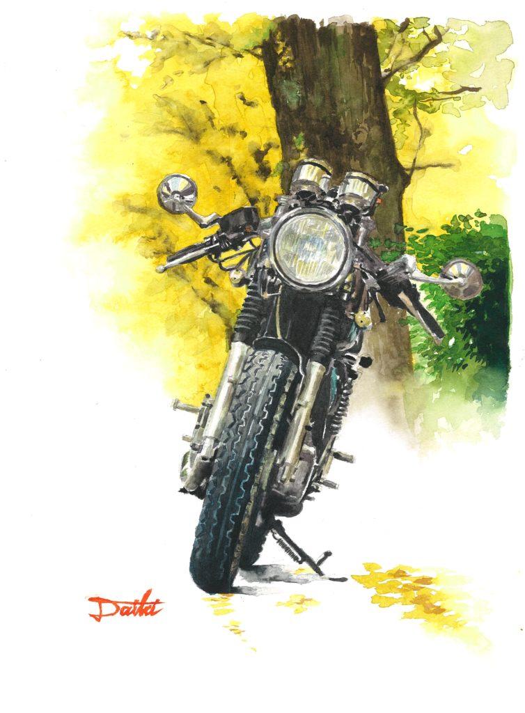 YAMAHA SR400 水彩バイクイラスト