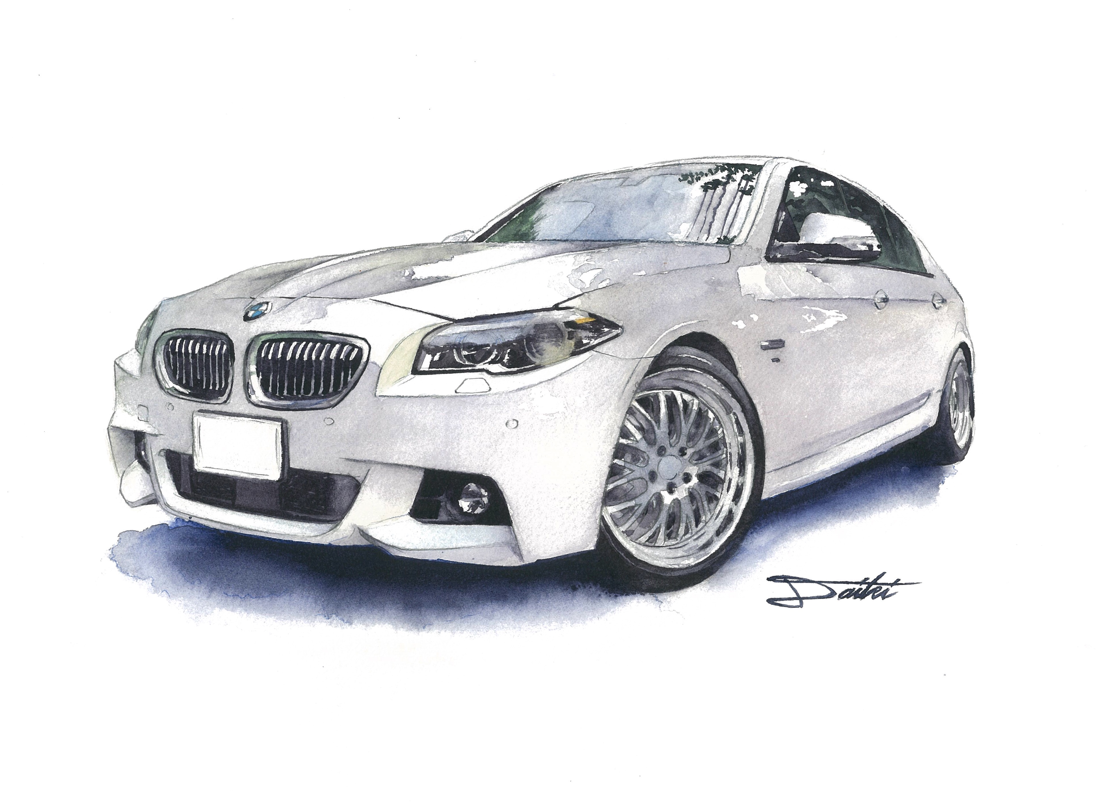 BMW/5シリーズ F10 水彩イラスト