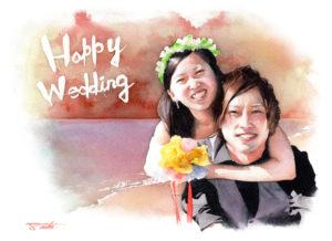 友人の結婚祝い ウェディングプレゼント 水彩似顔絵