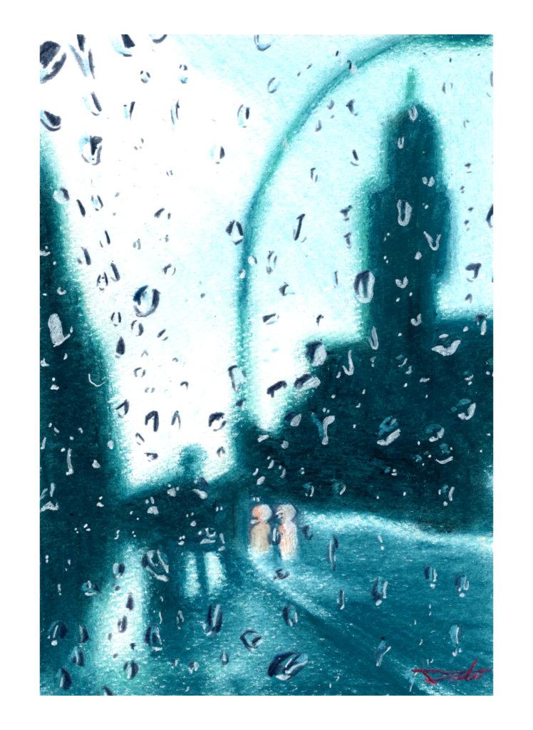 雨の風景 オイルパステル風景画
