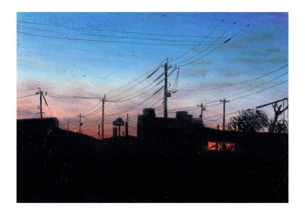朝焼け オイルパステル風景画