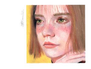 似顔絵 オイルパステル画