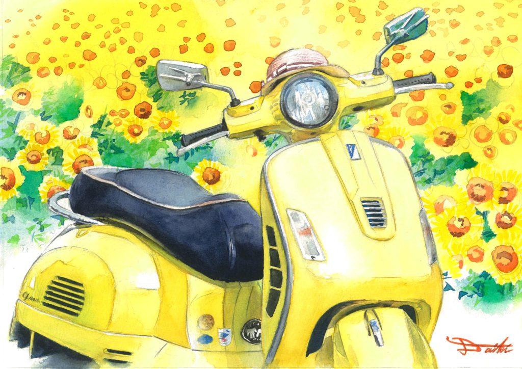 ベスパ 水彩バイクイラスト