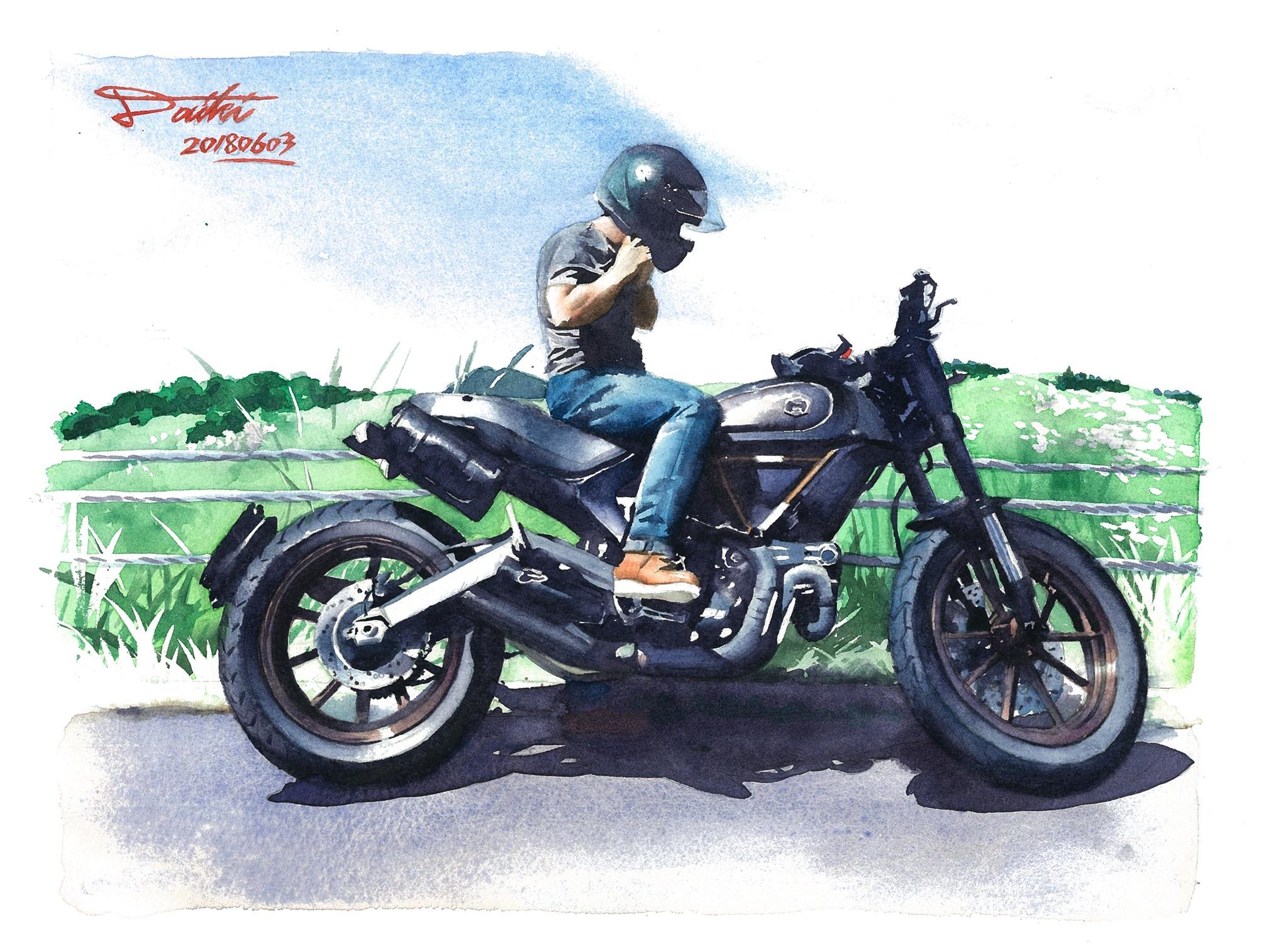DUCATI scrambler1100 水彩バイクイラスト