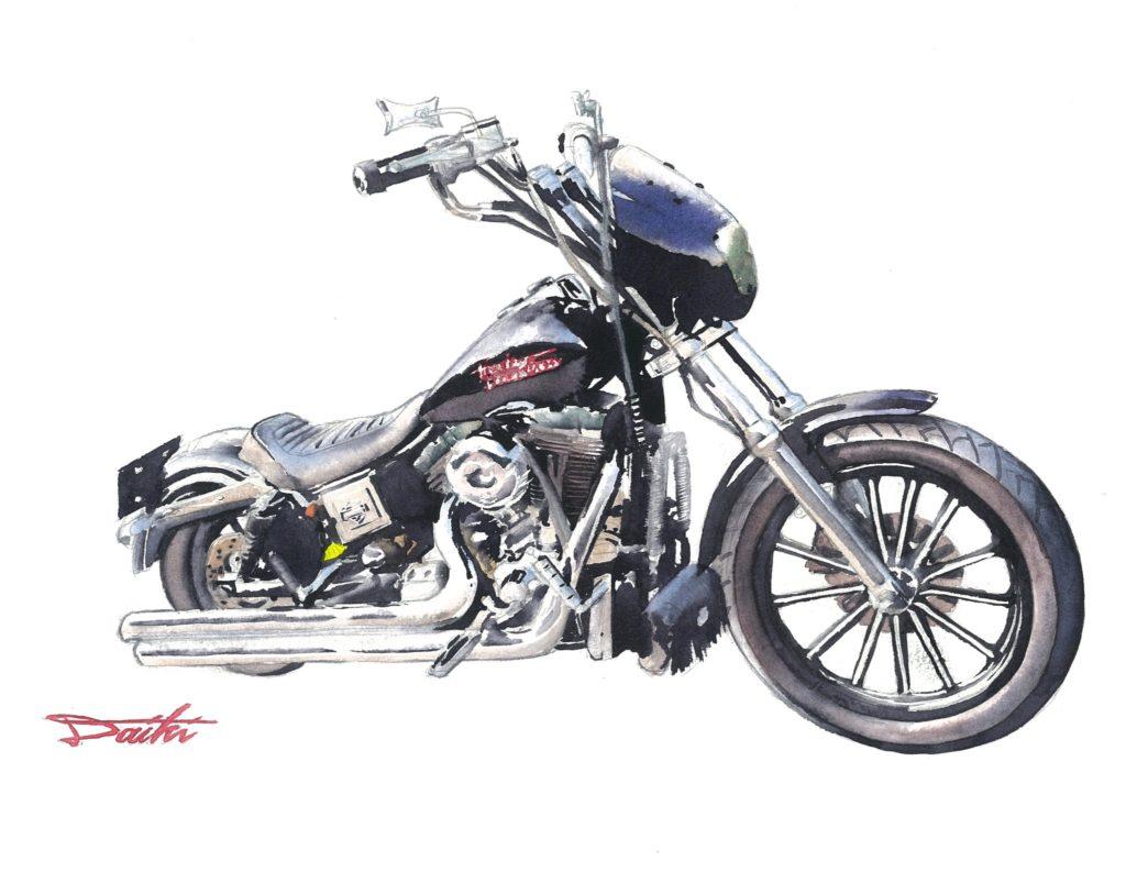 HarleyDavidson ダイナスーパーグライド 水彩バイクイラスト