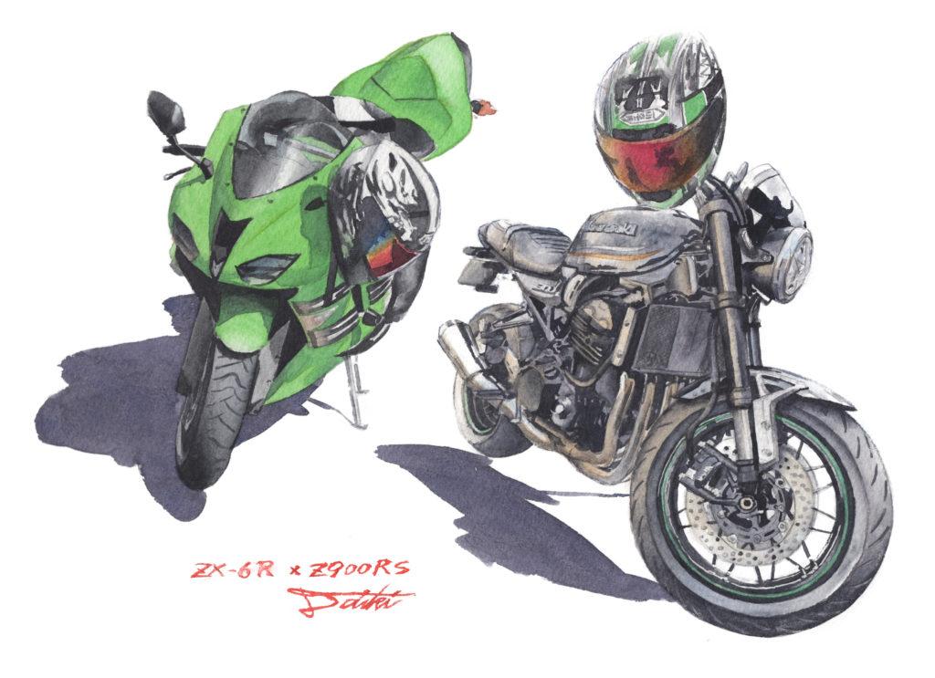 Kawasaki ZX-6R Z900RS 水彩バイクイラスト