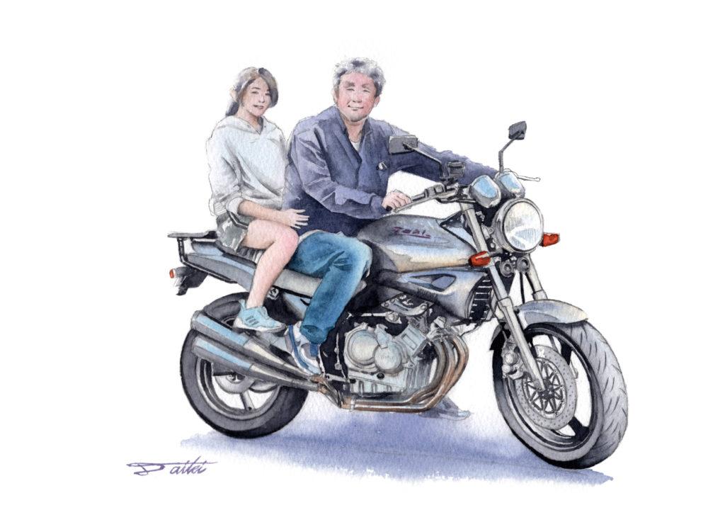YAMAHA ジール 単車倶楽部連載 水彩バイクイラスト