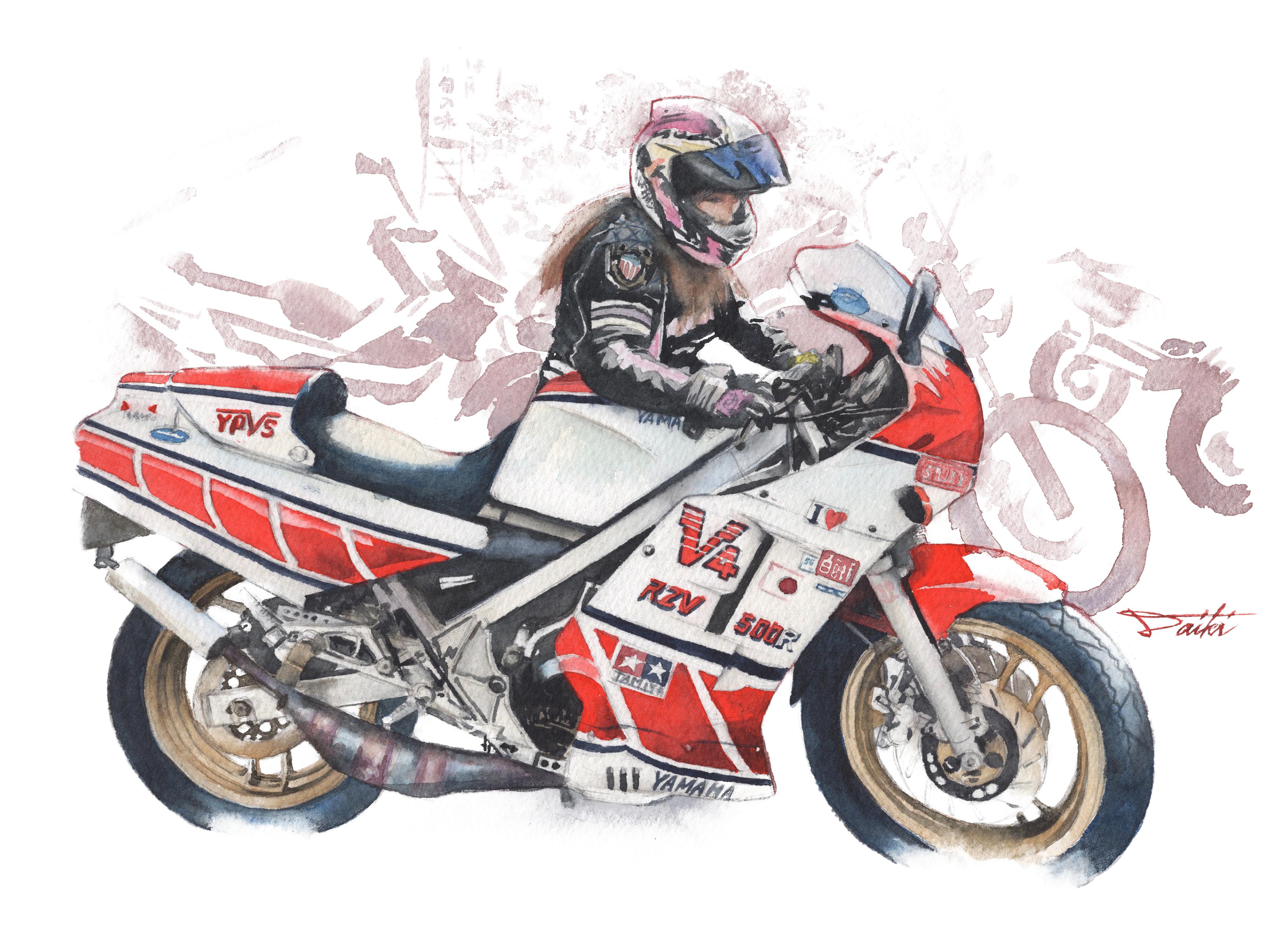 YAMAHA RZV500R 水彩バイクラスト