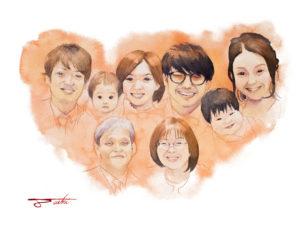 ご両親への還暦祝い 水彩似顔絵
