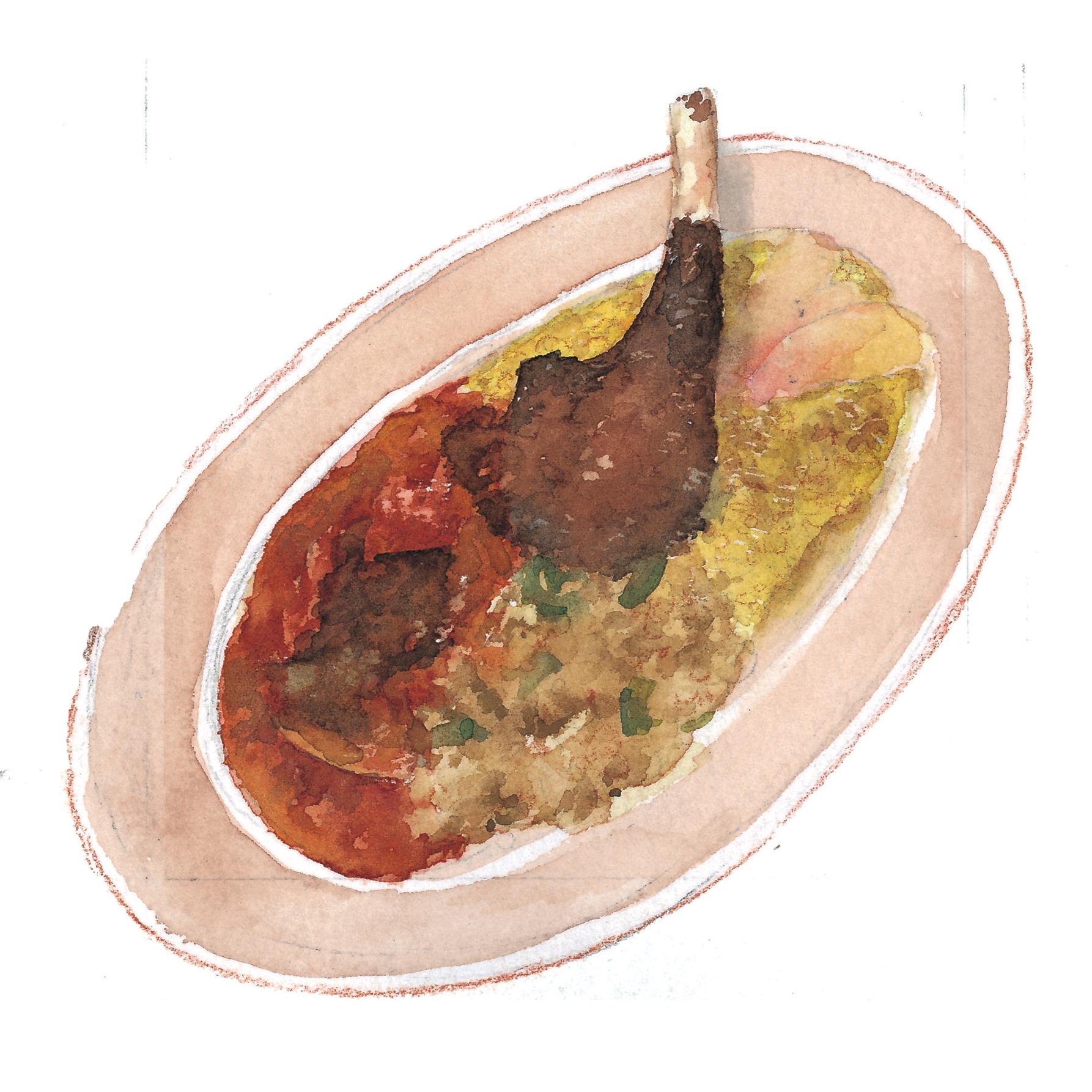 ナビカーズ vol.42 下町バルながおか屋のスペシャルプレート 水彩食べ物イラスト
