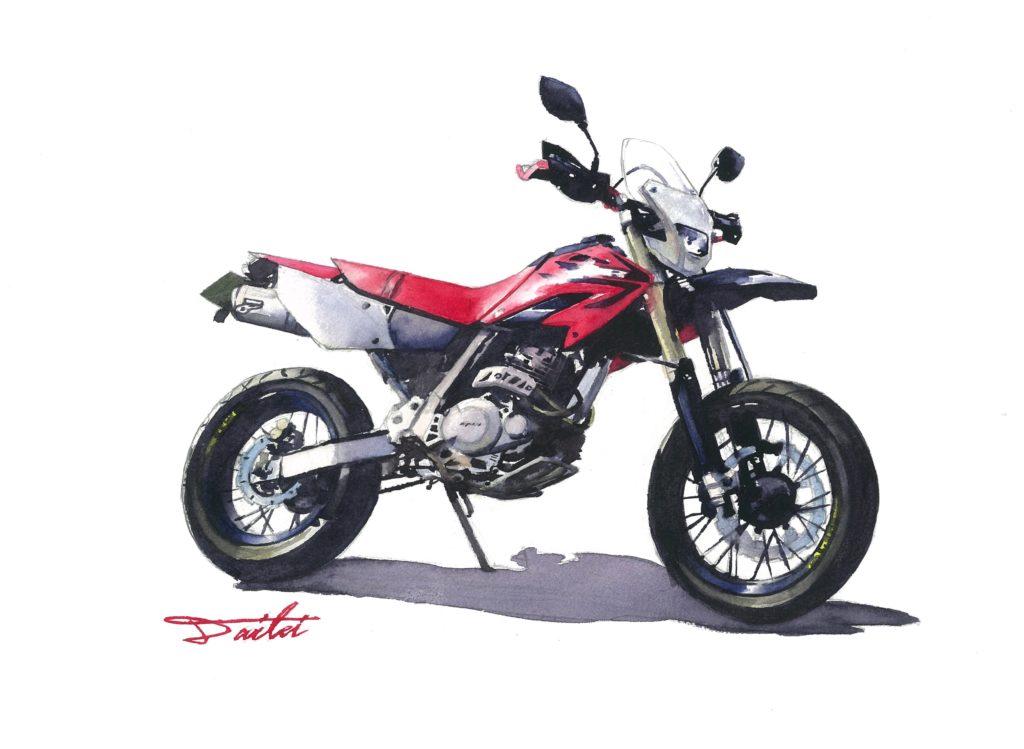 HONDA XR250 水彩バイクイラスト