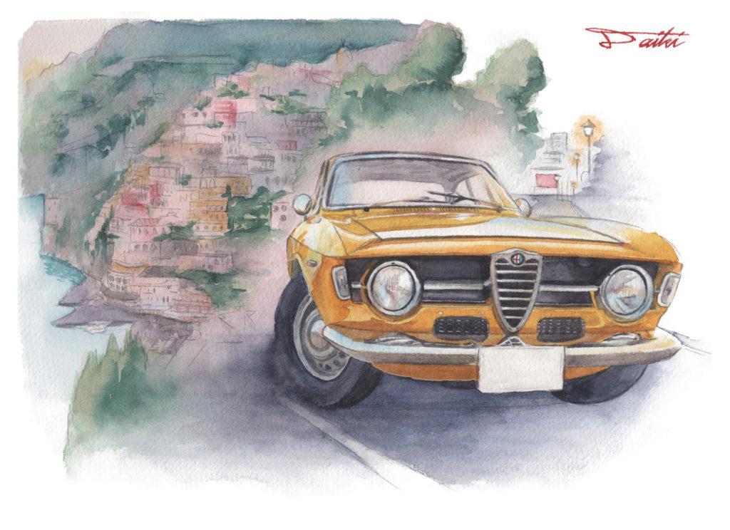 アルファロメオ ジュニアスプリント GTA 水彩クルマイラスト