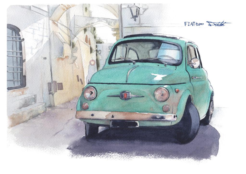 FIAT フィアット500 水彩クルマイラスト