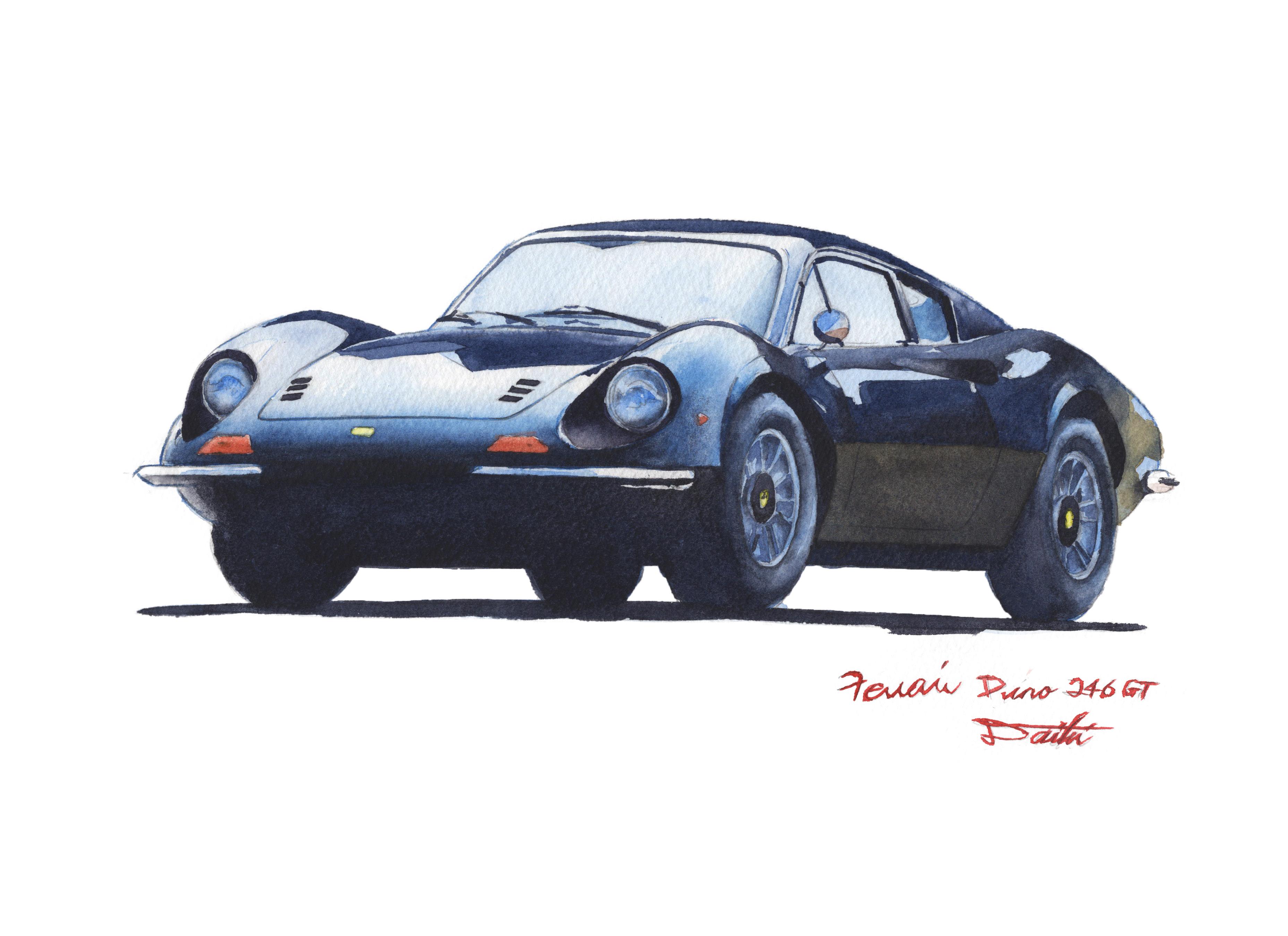 フェラーリ ディーノ246GT 水彩クルマイラスト