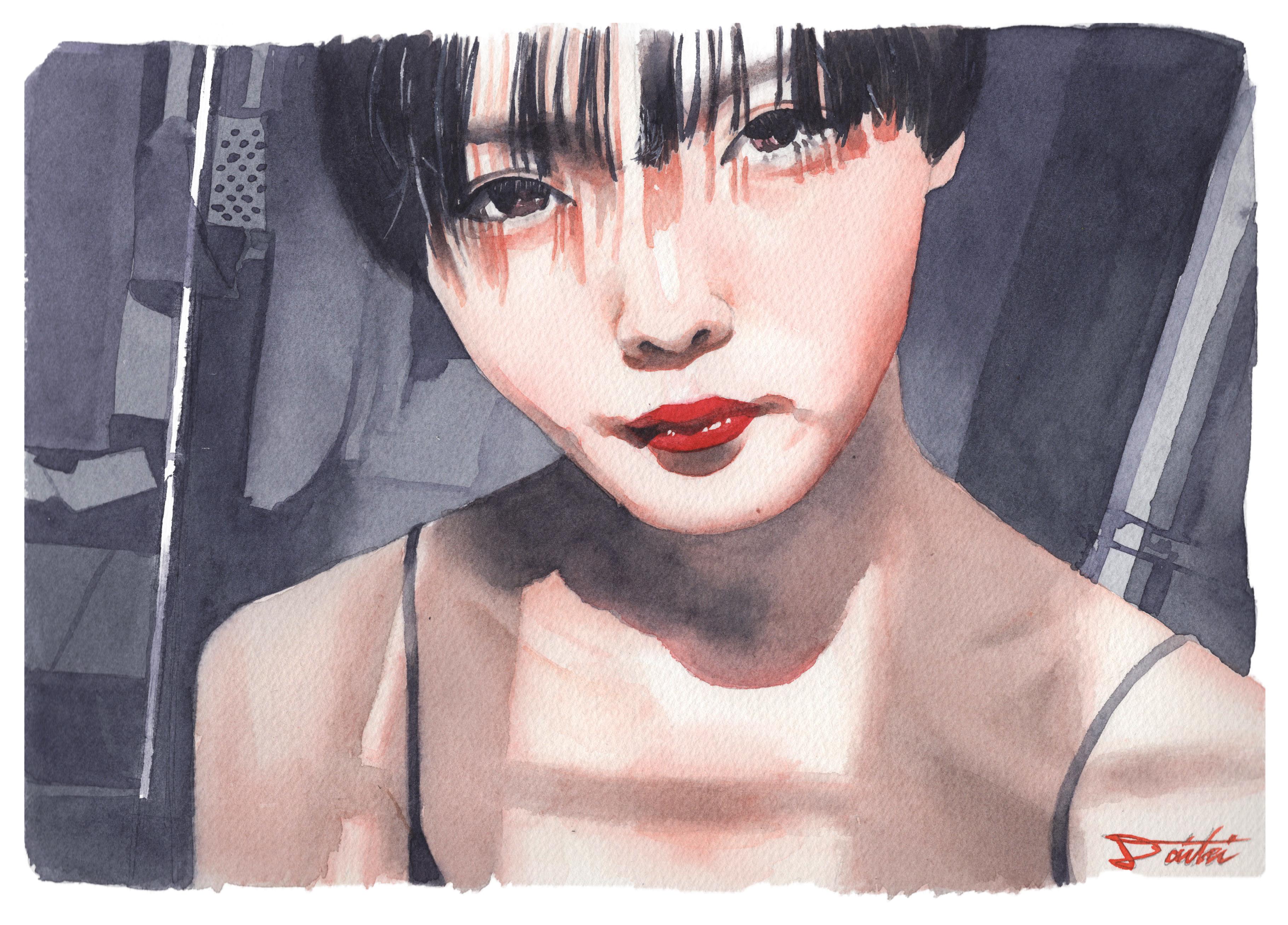 ショートカット女子 水彩似顔絵