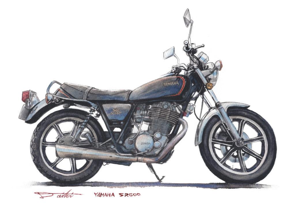 YAMAHA SR500 水彩バイクイラスト