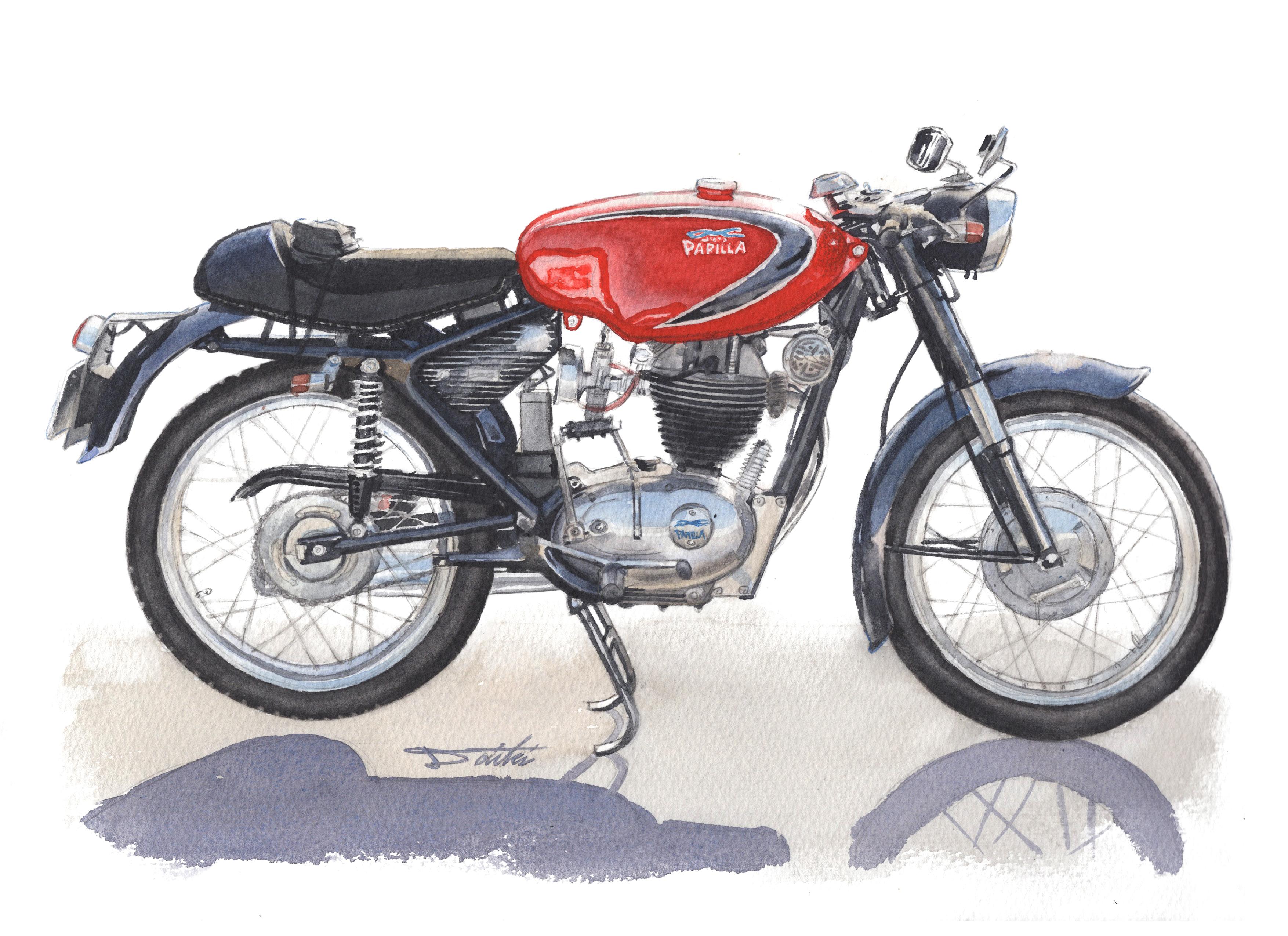 MOTOPARILA PARIRA175 水彩バイクイラスト