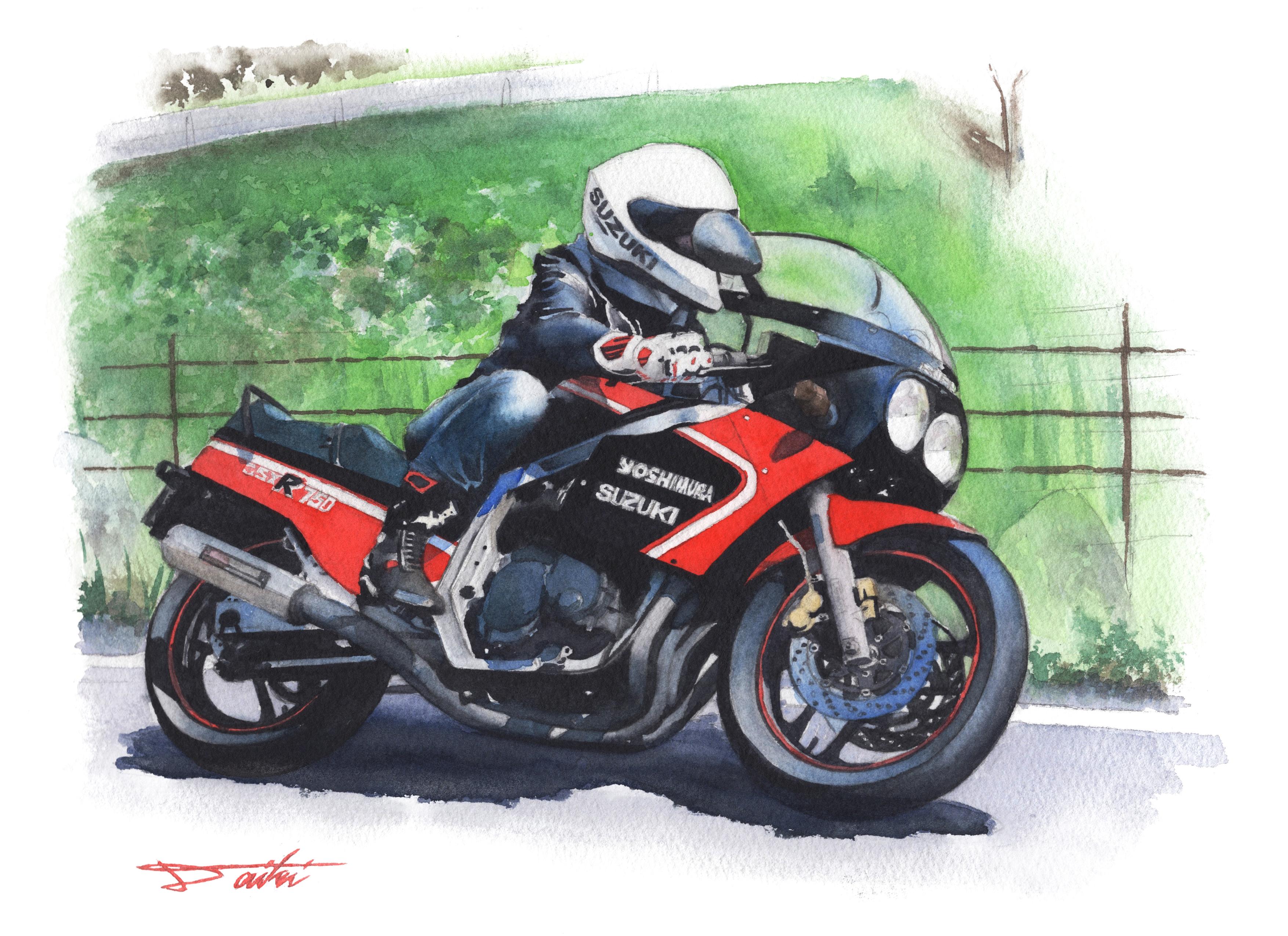 SUZUKI GSXR750 水彩バイクイラスト