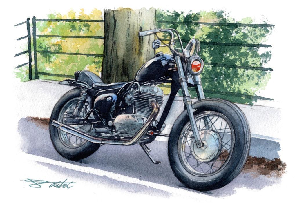 Kawasaki エストレヤチョッパー 水彩バイクイラスト