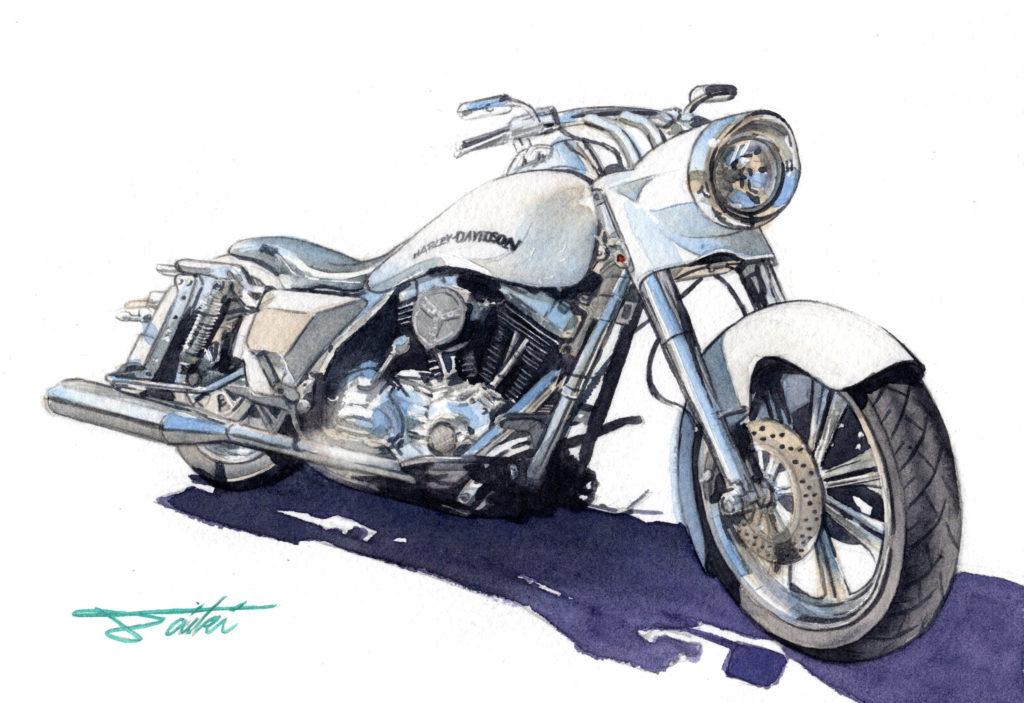 ハーレーダビッドソン 水彩バイクイラスト