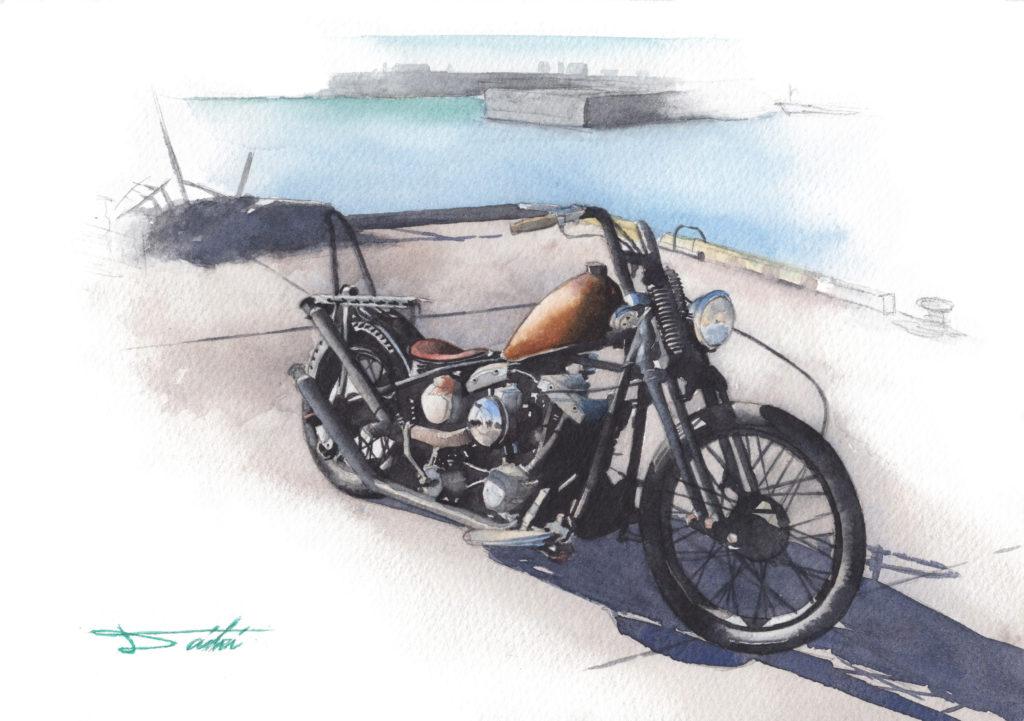 HarleyDavidson ショベルヘッド 水彩バイクイラスト