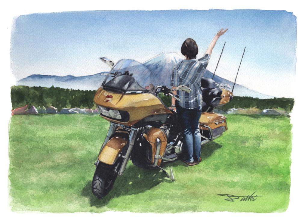 HarleyDavidson ロードグライドウルトラ 水彩バイクイラスト