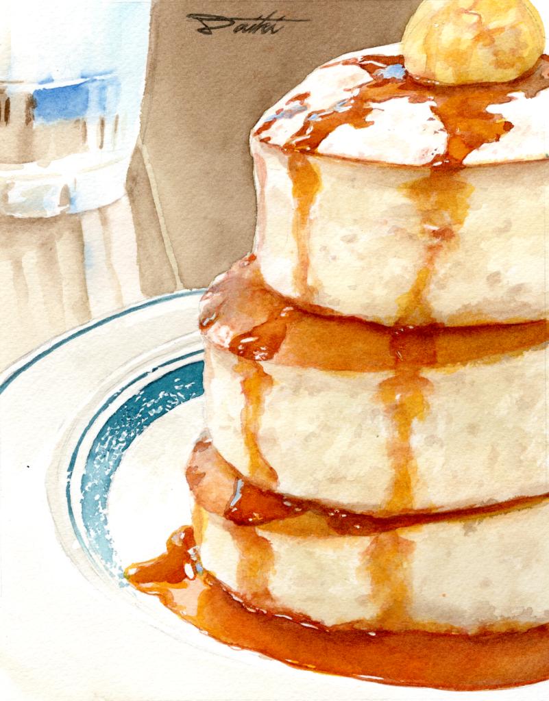 福岡Gram Cafe&Pancakes パンケーキ 水彩食べ物イラスト