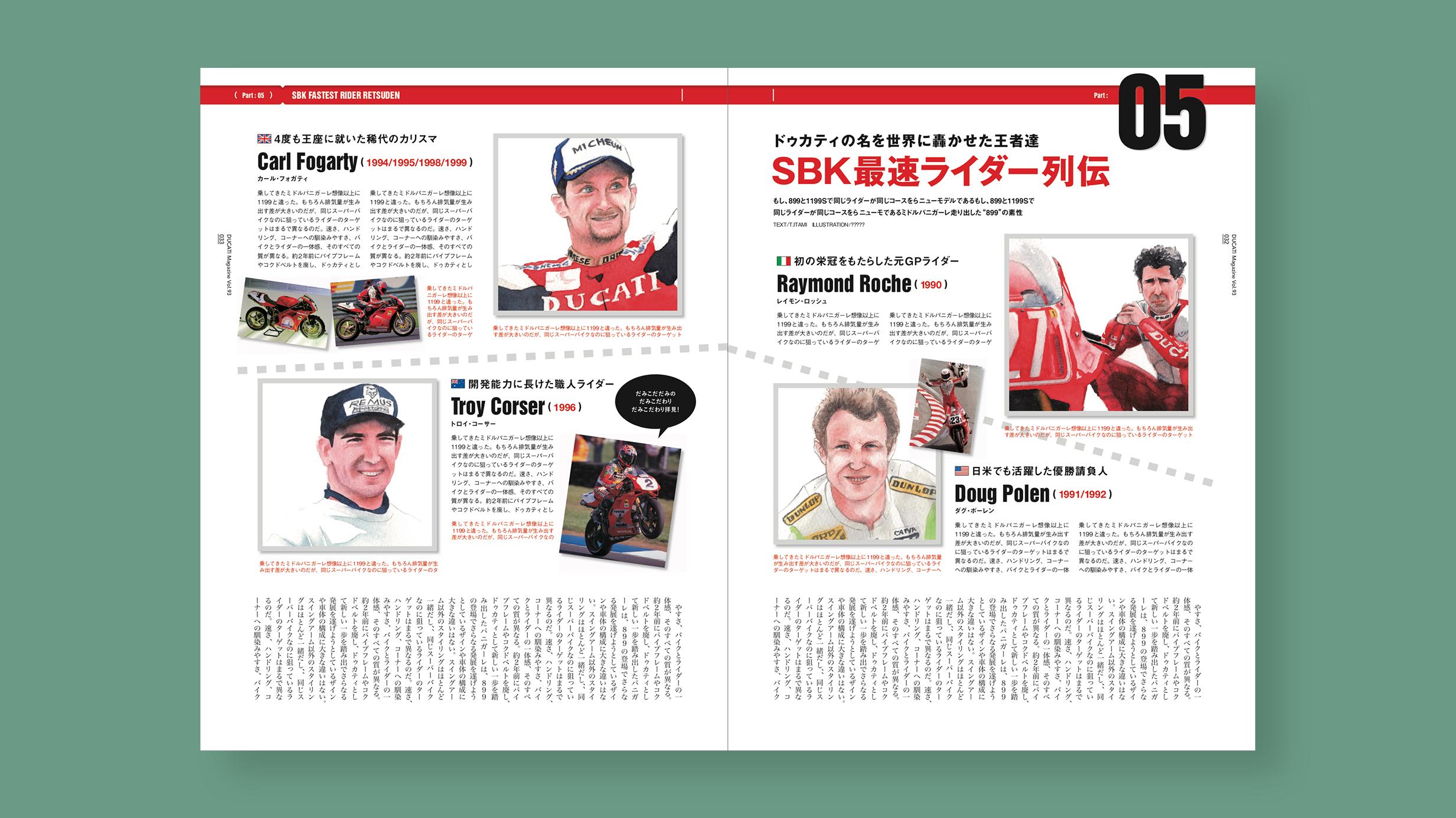 雑誌 DUCATI Magazine(ドゥカティマガジン)11月号 ドゥカティ歴代ライダーイラストカット