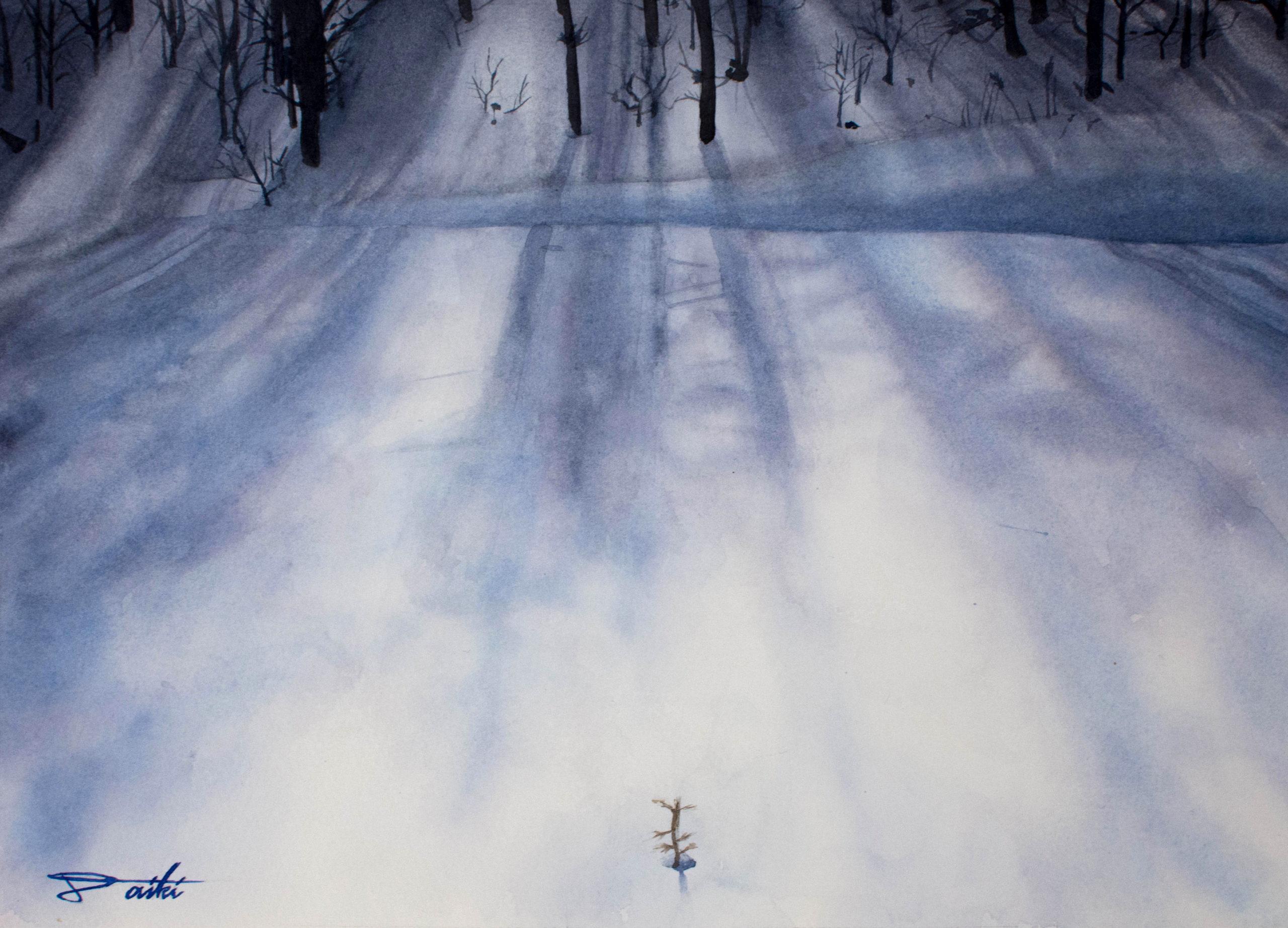 雪 透明水彩風景画