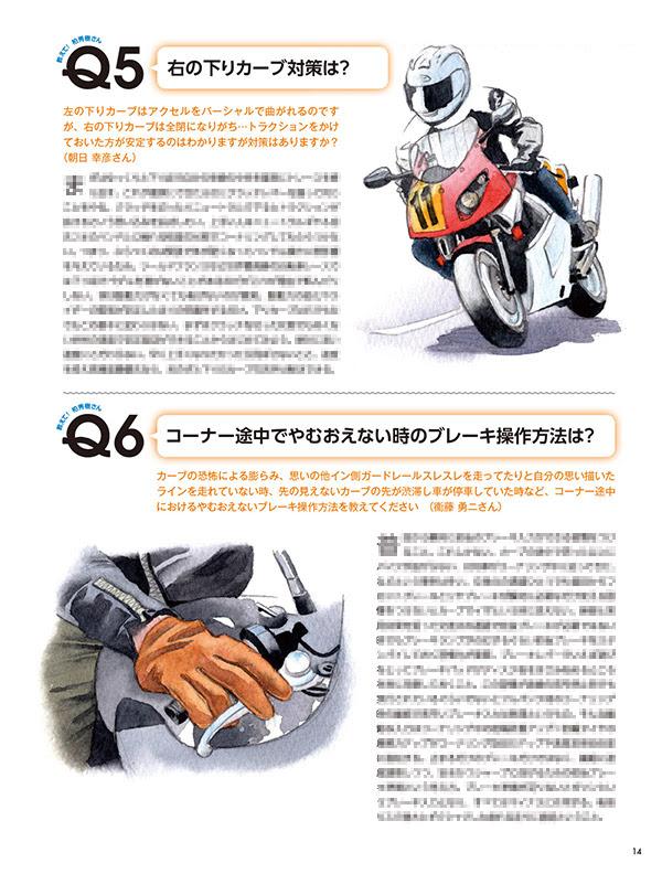 雑誌 単車倶楽部12月号 ツーリングで役立つライテクQ&A ライテクイラストカット