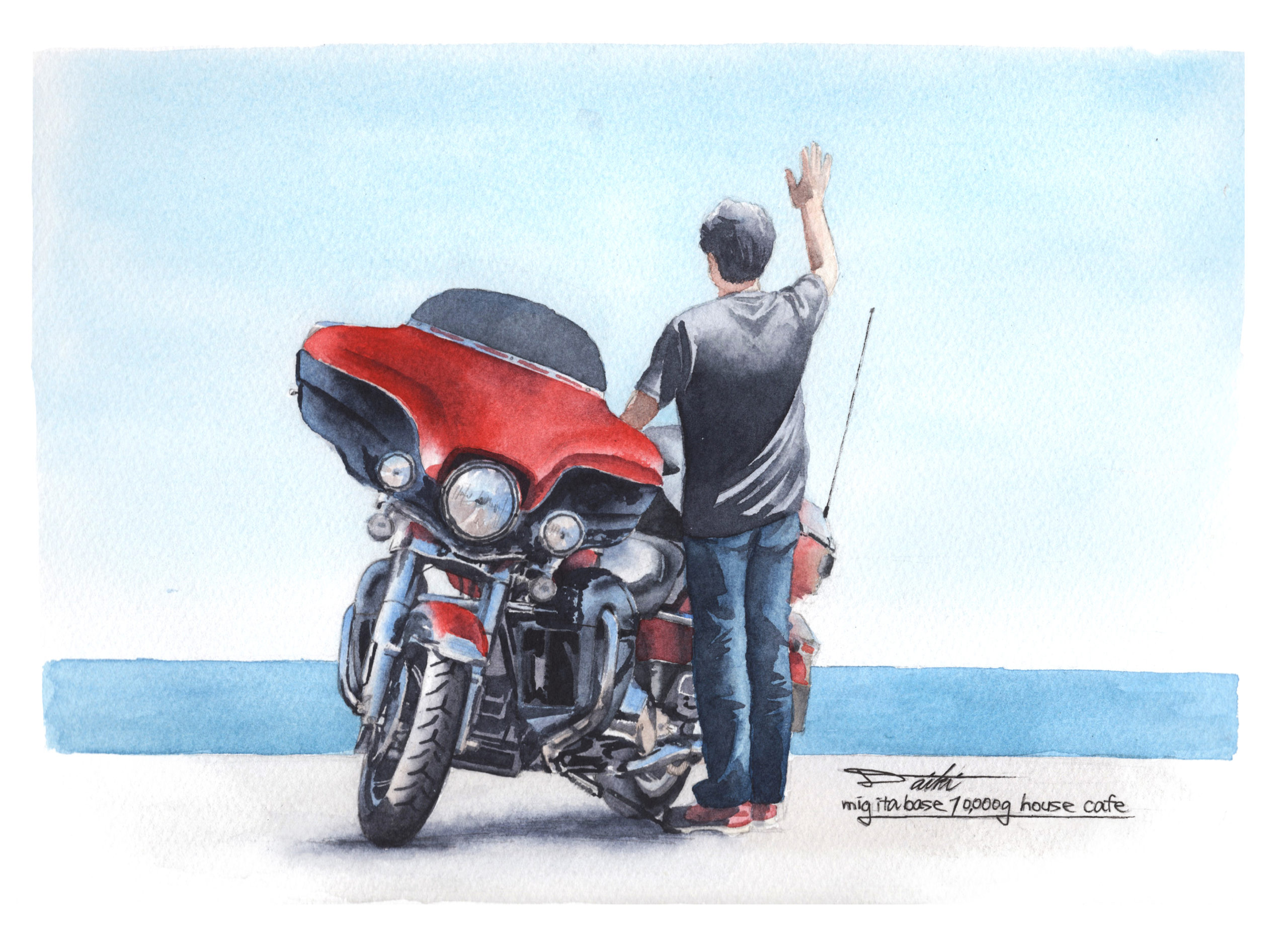 Harley-Davidson エレクトラグライドウルトラリミテッド 水彩バイクイラスト