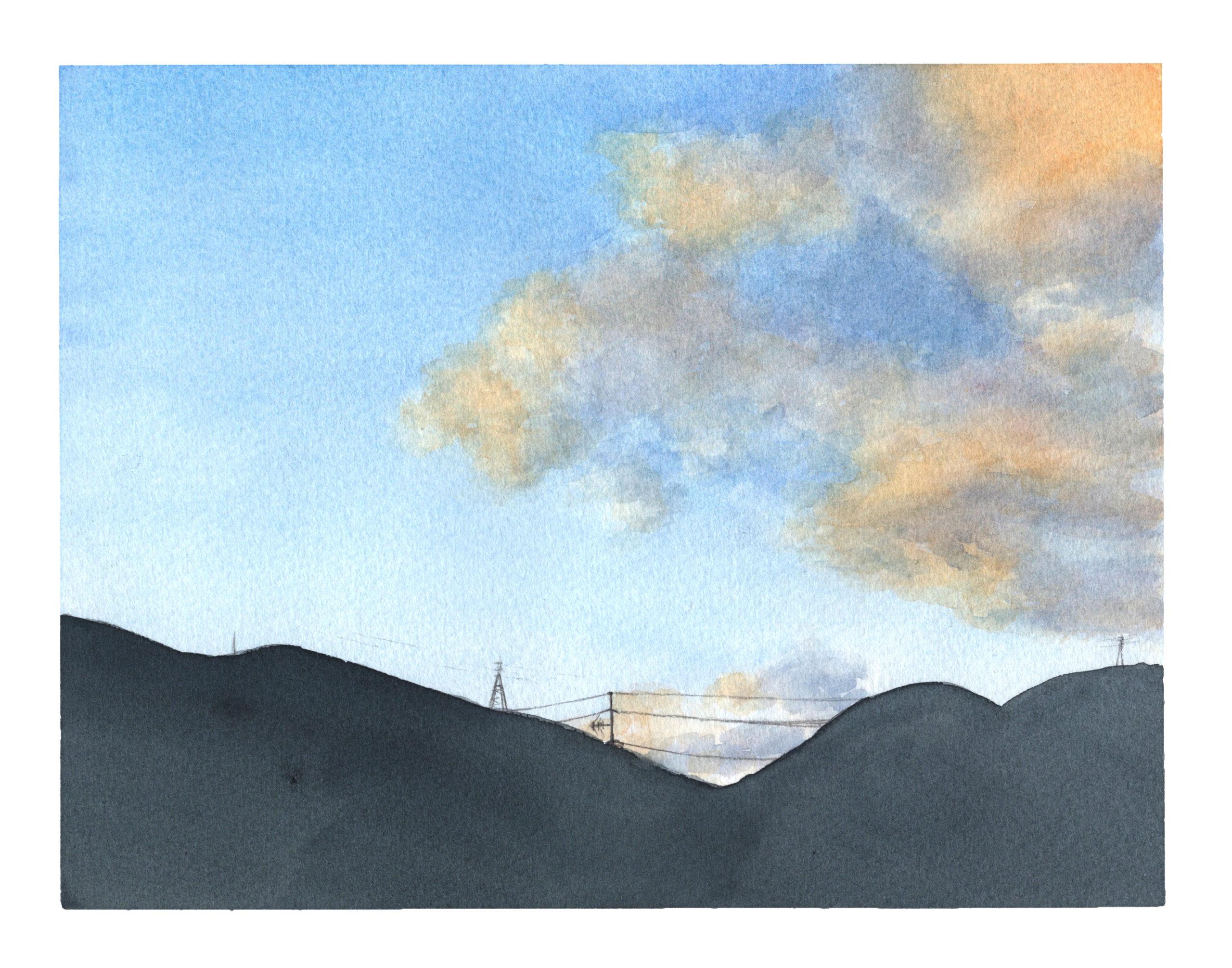 雲 透明水彩風景画