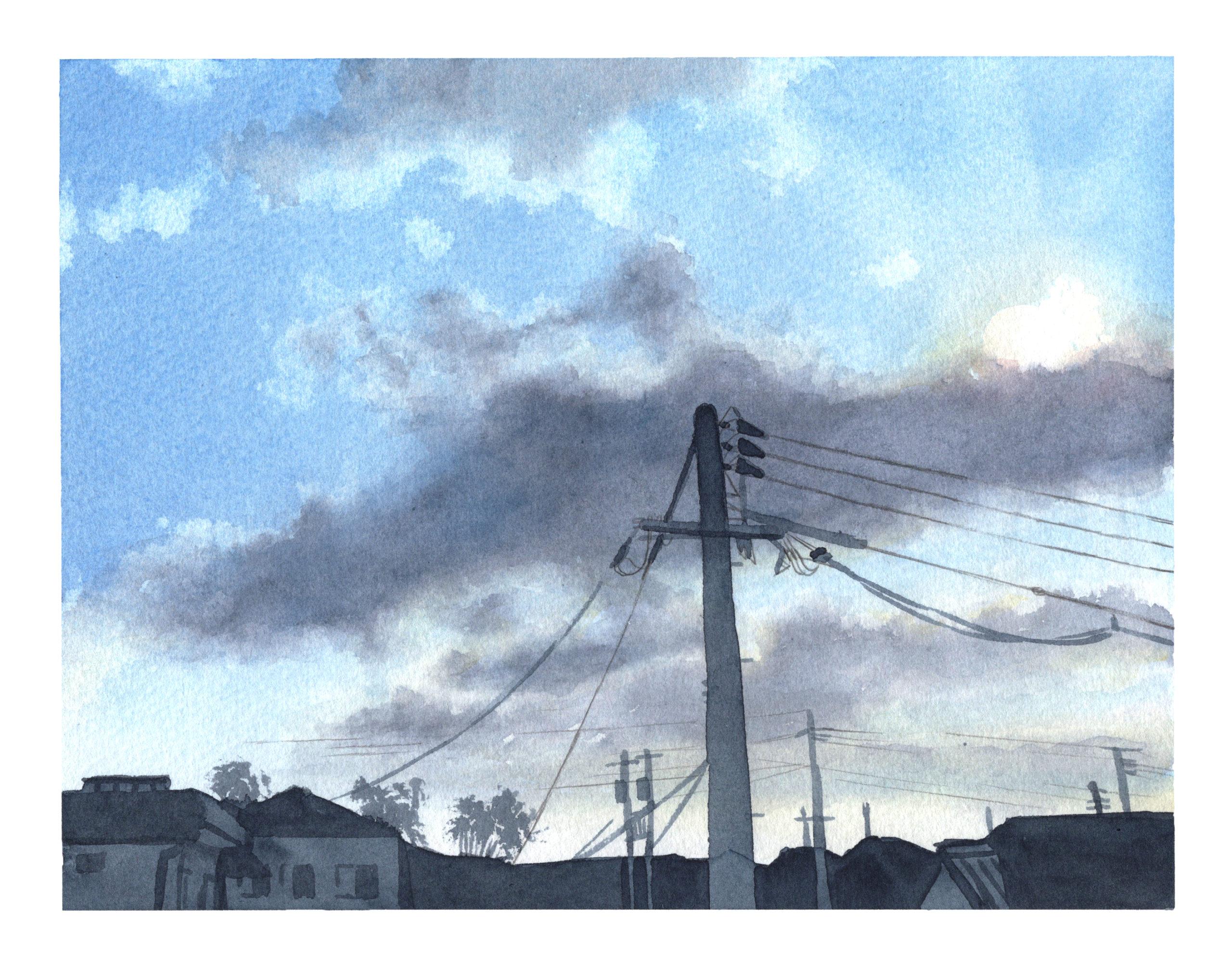 ベランダからの風景 雲 透明水彩風景画
