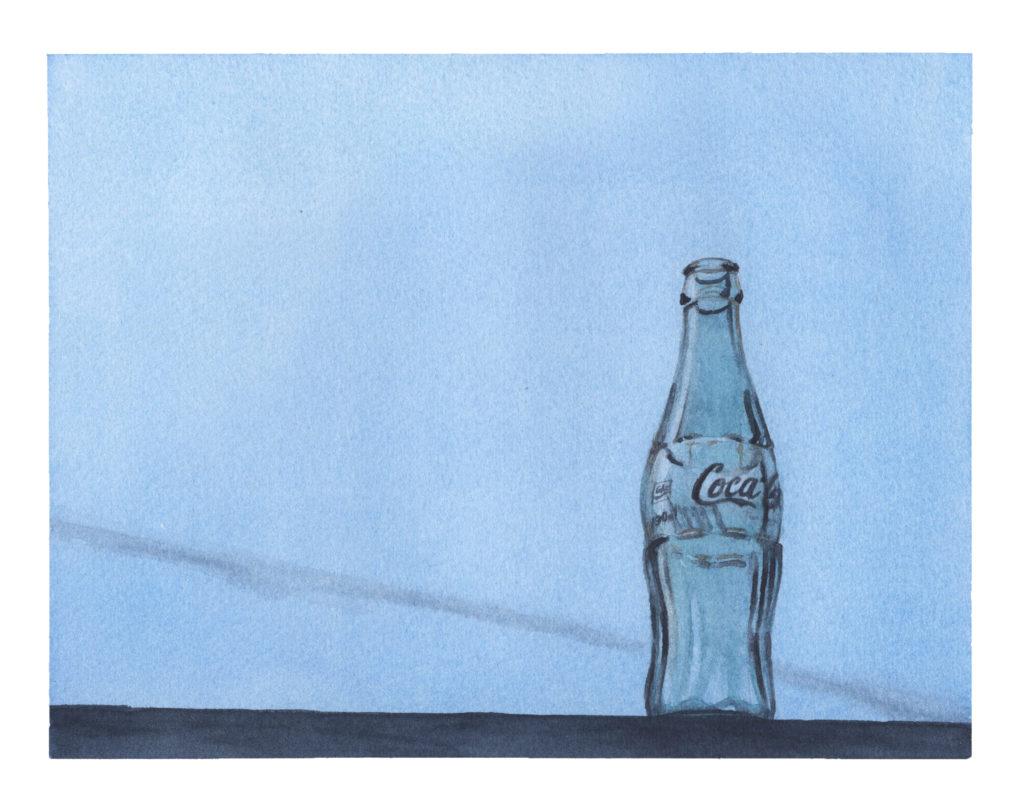 空き瓶 透明水彩風景画