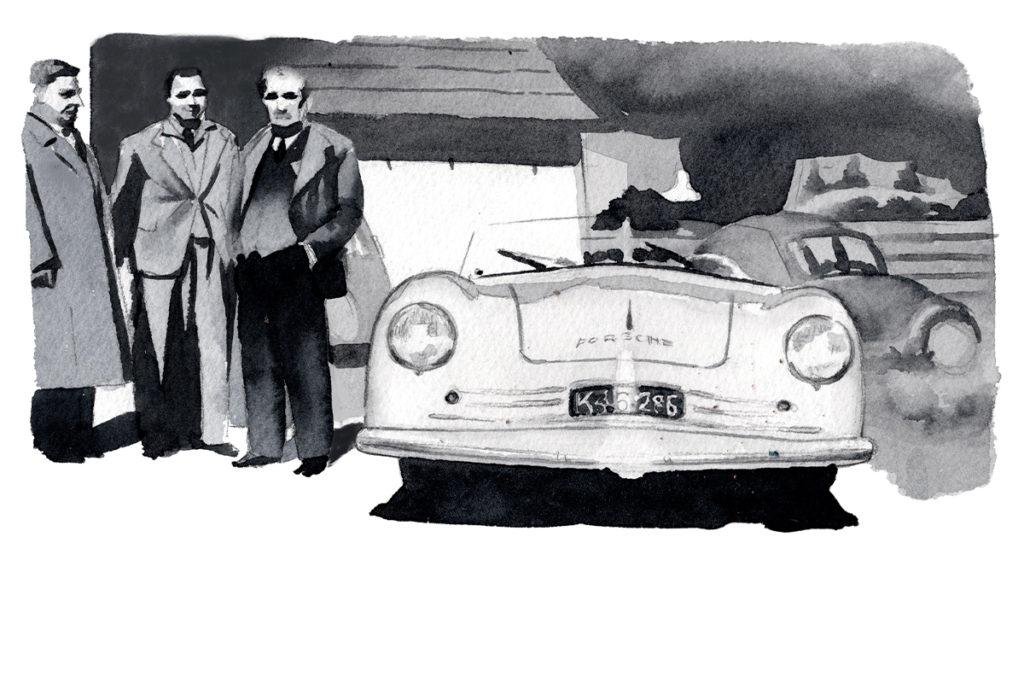 PORSCHE ポルシェ356 フェルディナント・ポルシェ博士 フェリー・ポルシェ 水彩車イラスト