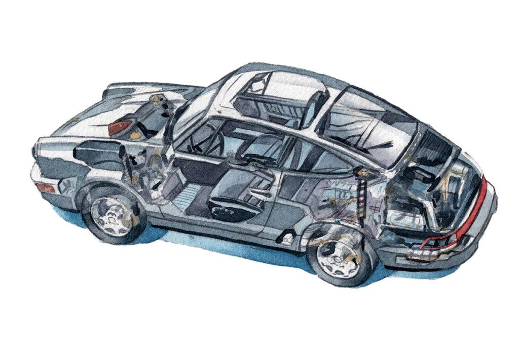 PORSCHE ポルシェ911 透視図 水彩車イラスト