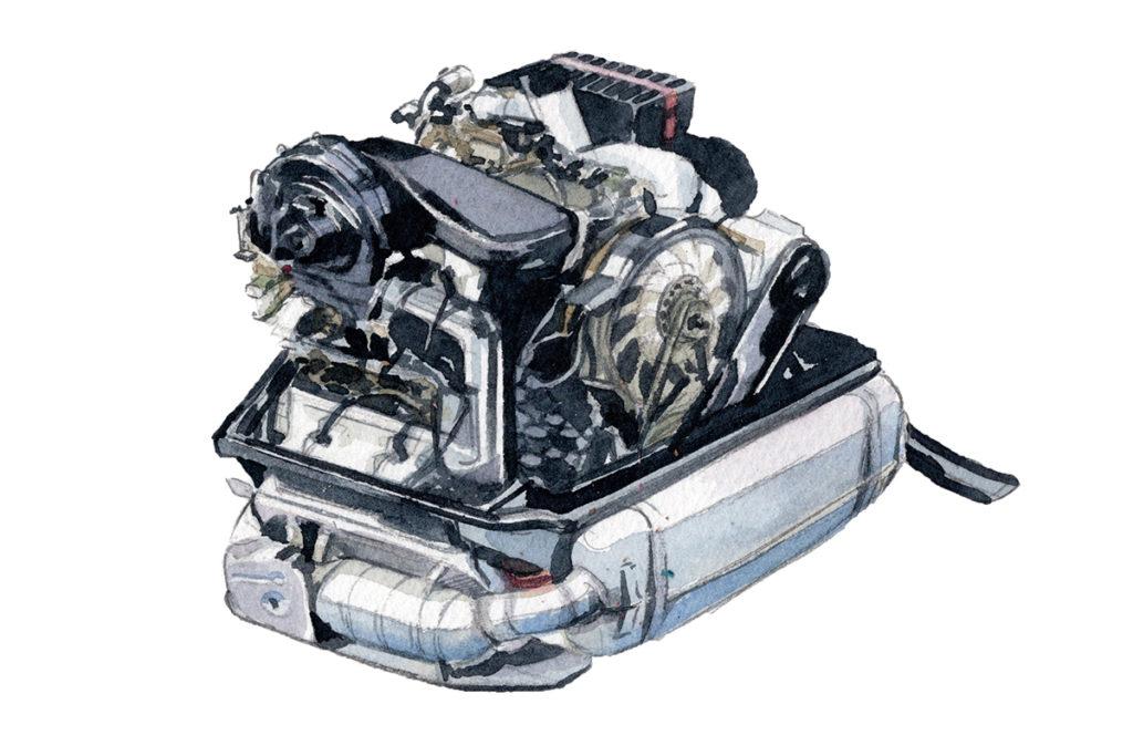 PORSCHE ポルシェ356 空冷水平対向エンジン 水彩車イラスト