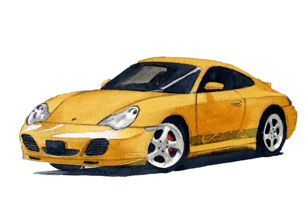 PORSCHE ポルシェ911 996型 水彩車イラスト
