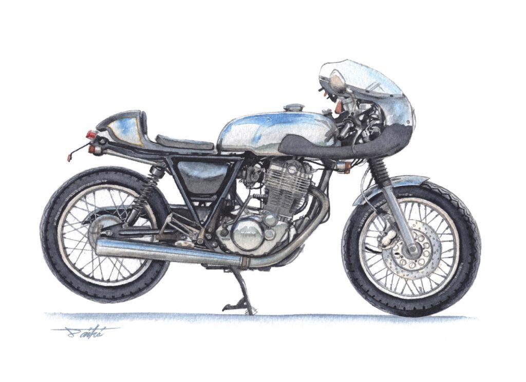 YAMAHA SR400 カフェレーサー 水彩バイクイラスト